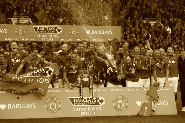 man utd 20th title sepia