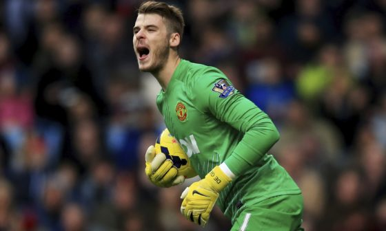 David de Gea screaming with the ball